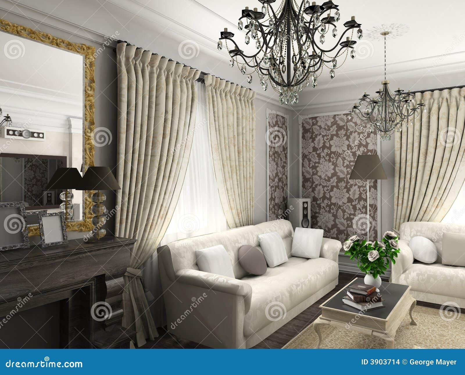Sala de estar con los muebles cl sicos imagenes de archivo for Muebles industriales sala de estar