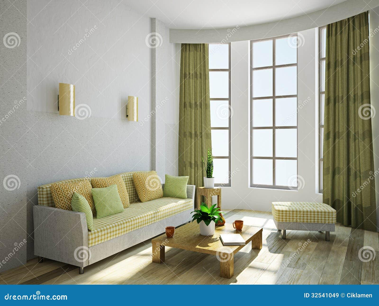 Sala de estar con muebles im genes de archivo libres de for Sala de estar de madera