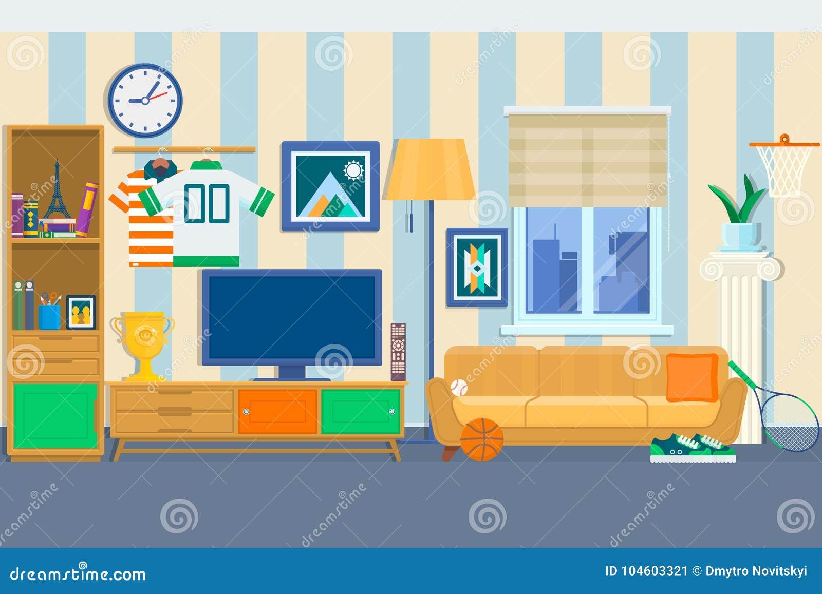 Sala De Estar Con Muebles Interior Acogedor Con El Sofá Y La TV ...