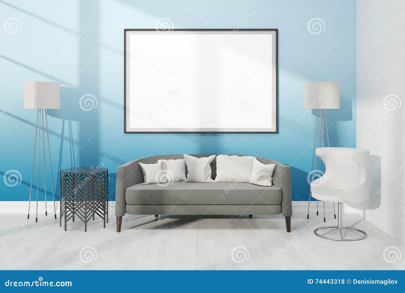 Sala de estar con muebles y el cartel grande stock de for Stock de muebles