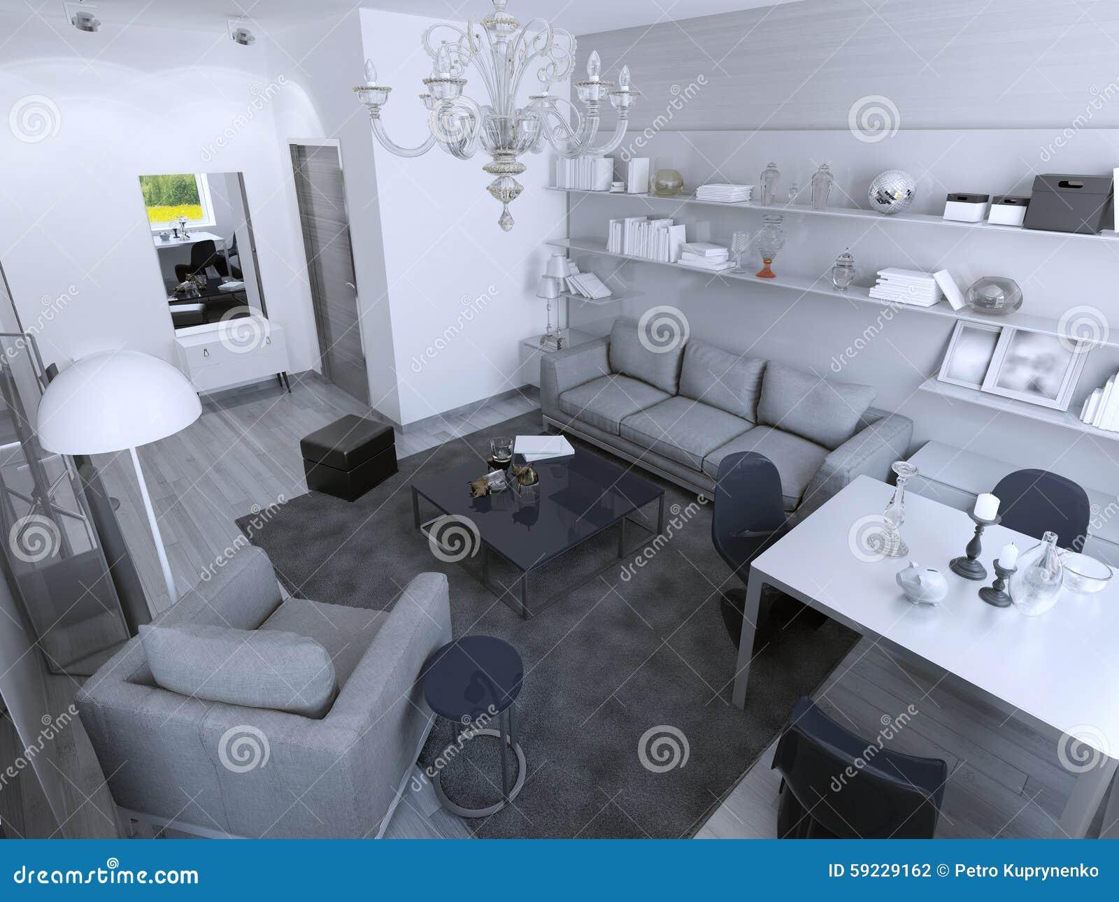 Sala de estar con tendencia de la mesa de comedor
