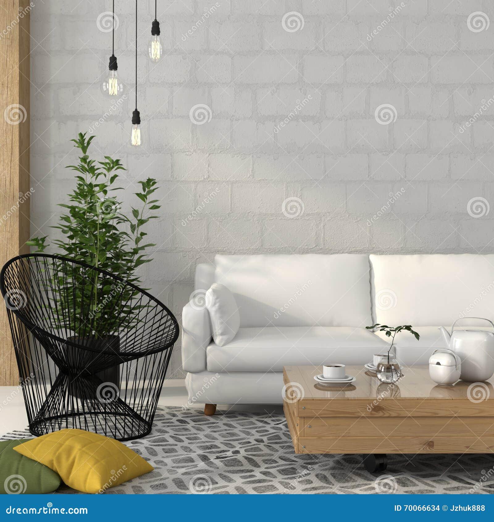 Sala de estar con un sof blanco y una butaca negra del for Sala de estar blanco y negro