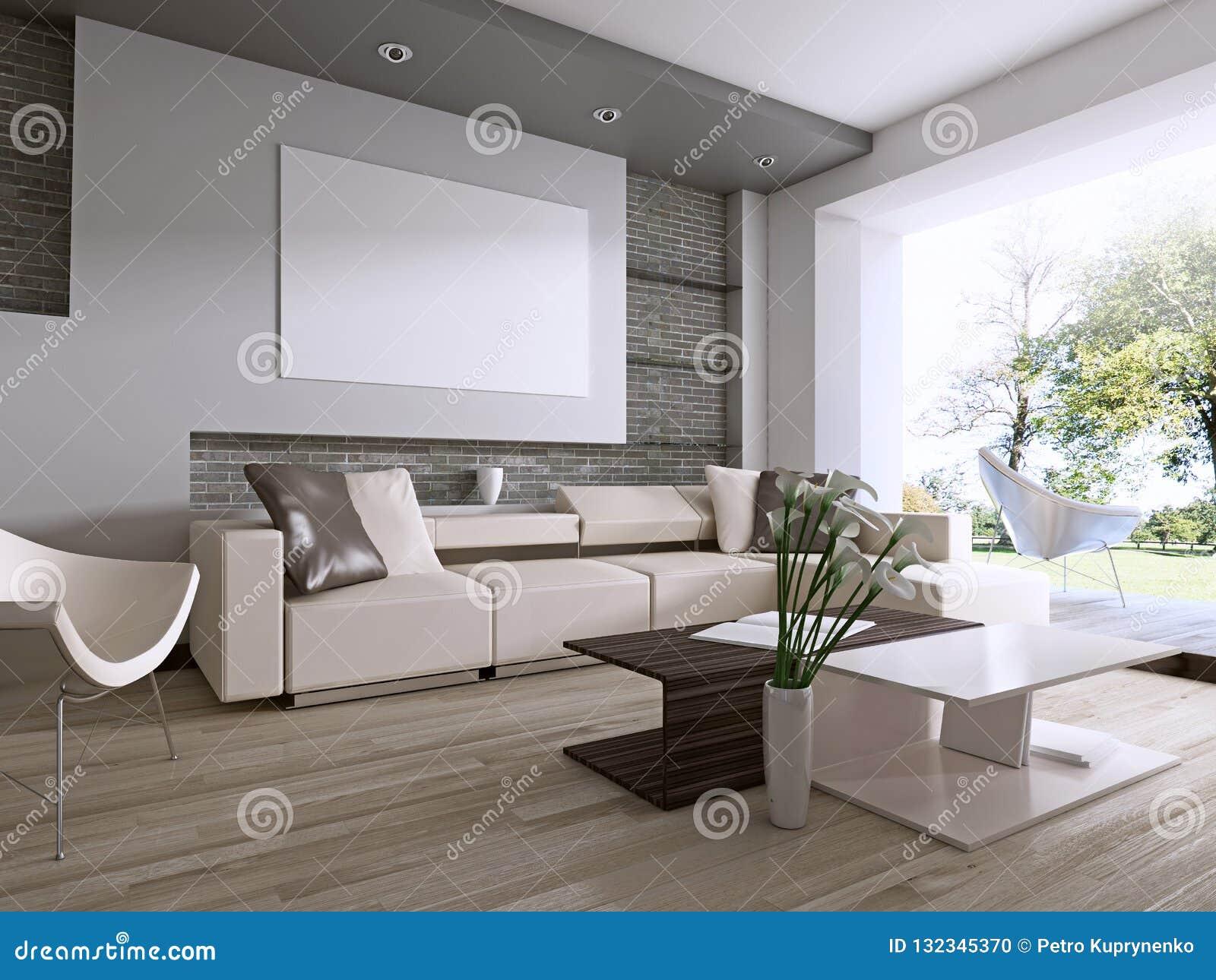 Sala de estar contemporánea con la ventana grande que pasa por alto el patio trasero