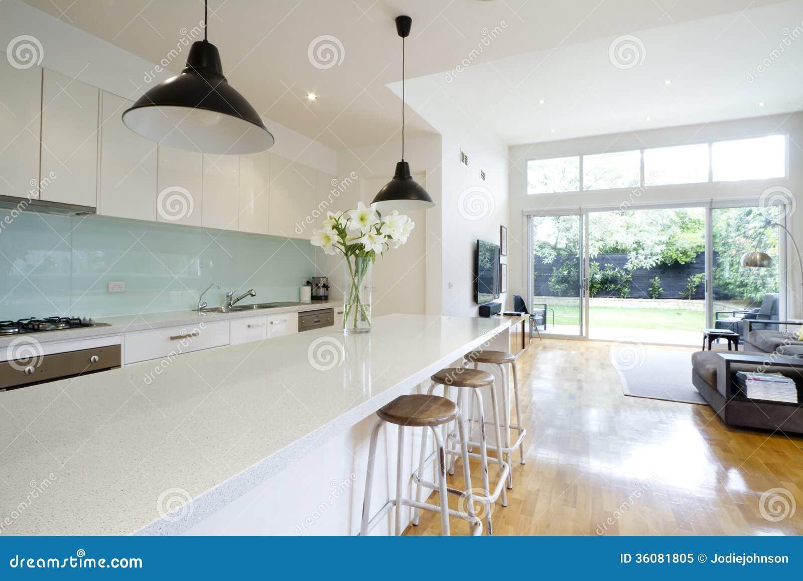Sala de estar contemporánea de la cocina