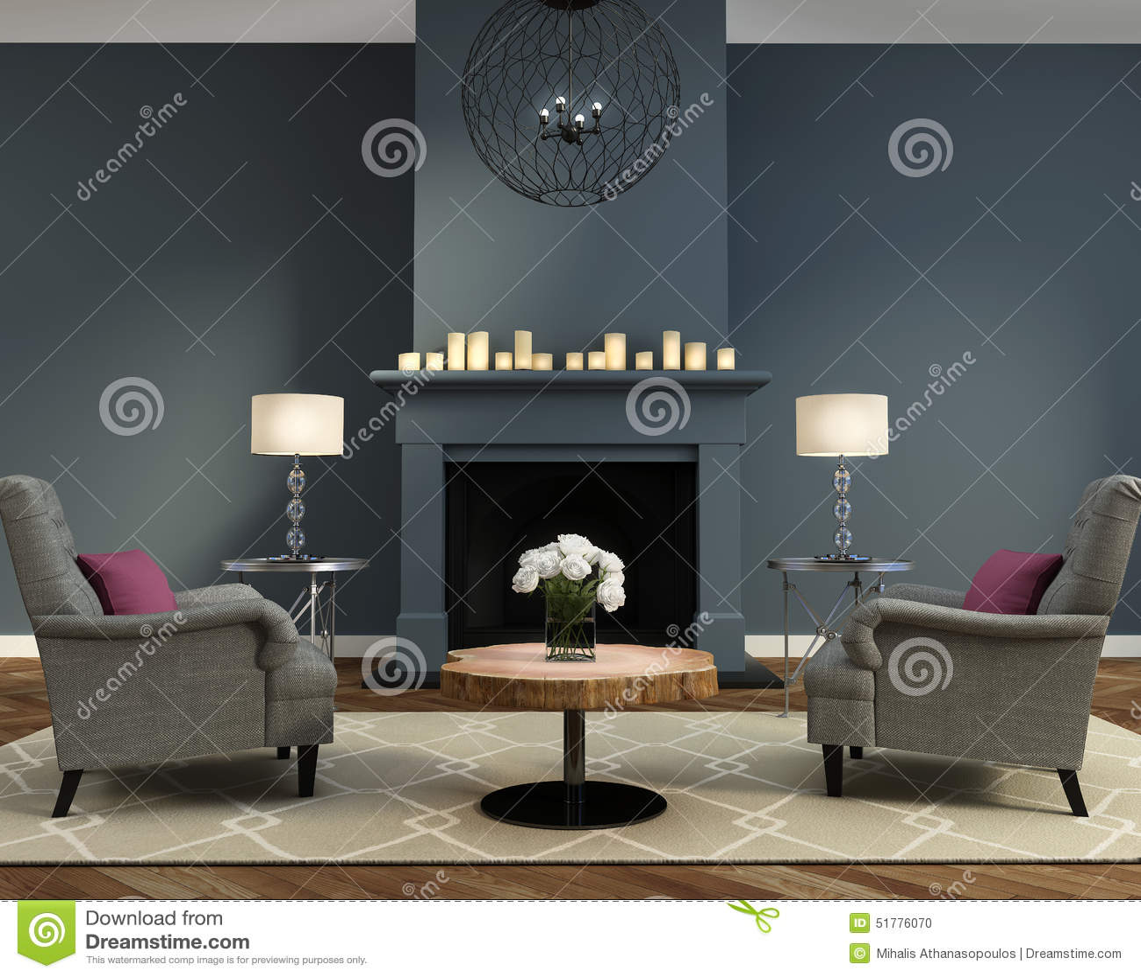 Sala de estar contemporánea de lujo elegante con la chimenea