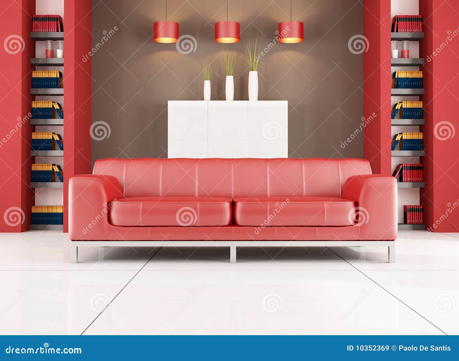 Sala de estar contempor nea roja y marr n im genes de for Sala de estar marron