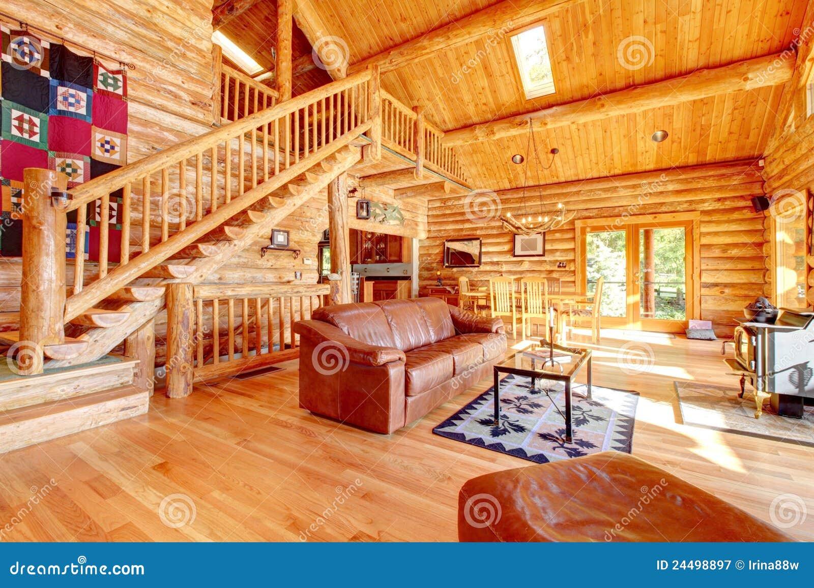 Sala de estar de lujo de la caba a de madera con el sof - Casas rusticas por dentro ...