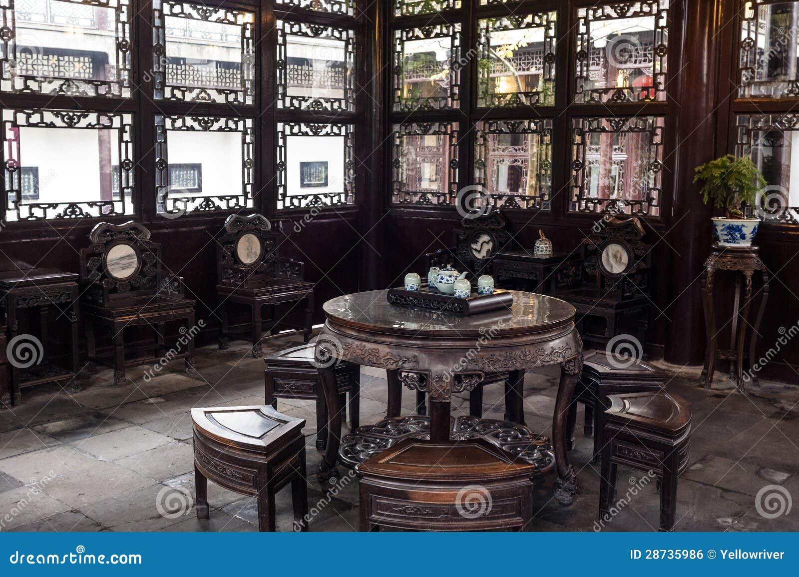 Sala de estar del estilo chino adentro él cultiva un huerto, Yangzhou, China