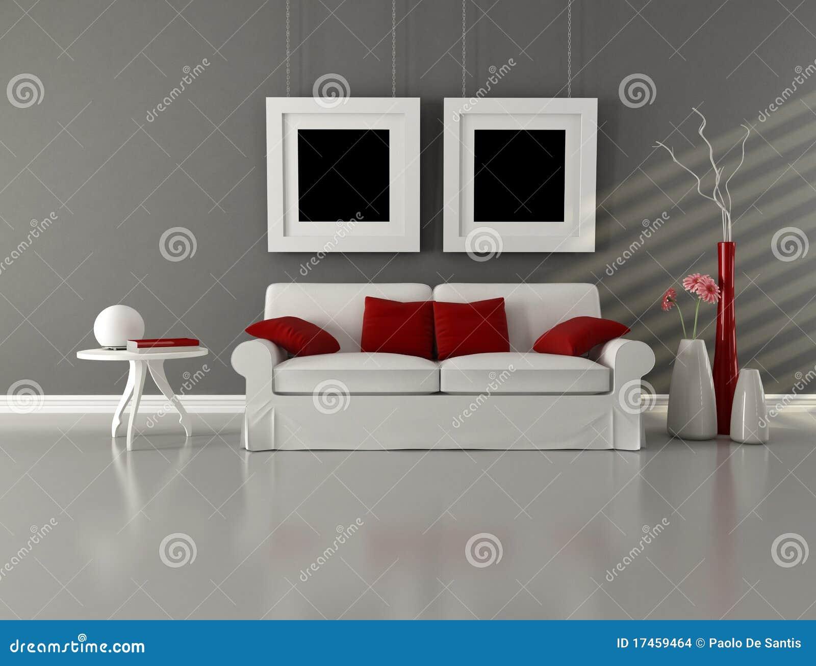 Sala de estar del minimalist del blanco gris y del rojo for Sala de estar rojo y blanco