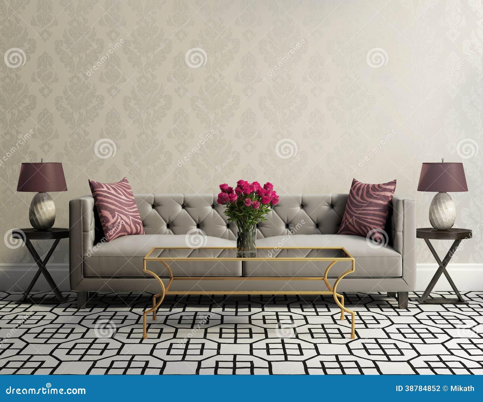 Sala de estar elegante del vintage con el sof gris del for Sala de estar retro vintage