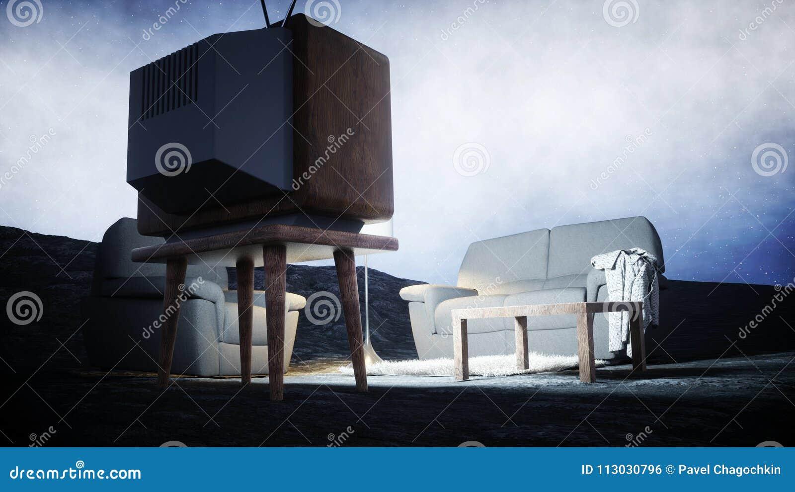 Sala de estar en la luna Viva en el concepto de la luna Fondo de la tierra representación 3d