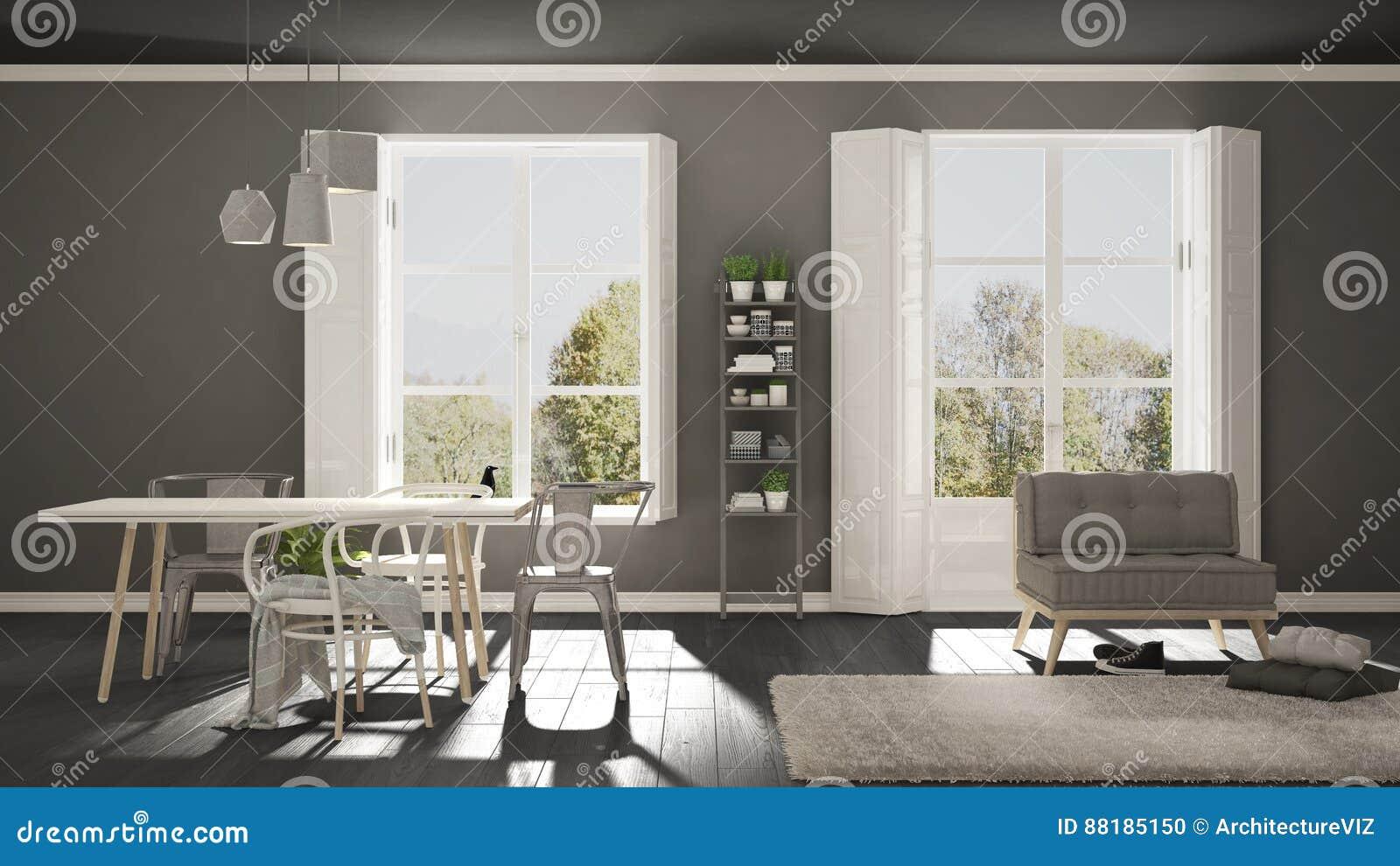 Sala De Estar Escandinava Con Las Ventanas Grandes Panorama Del  # Muebles Panorama