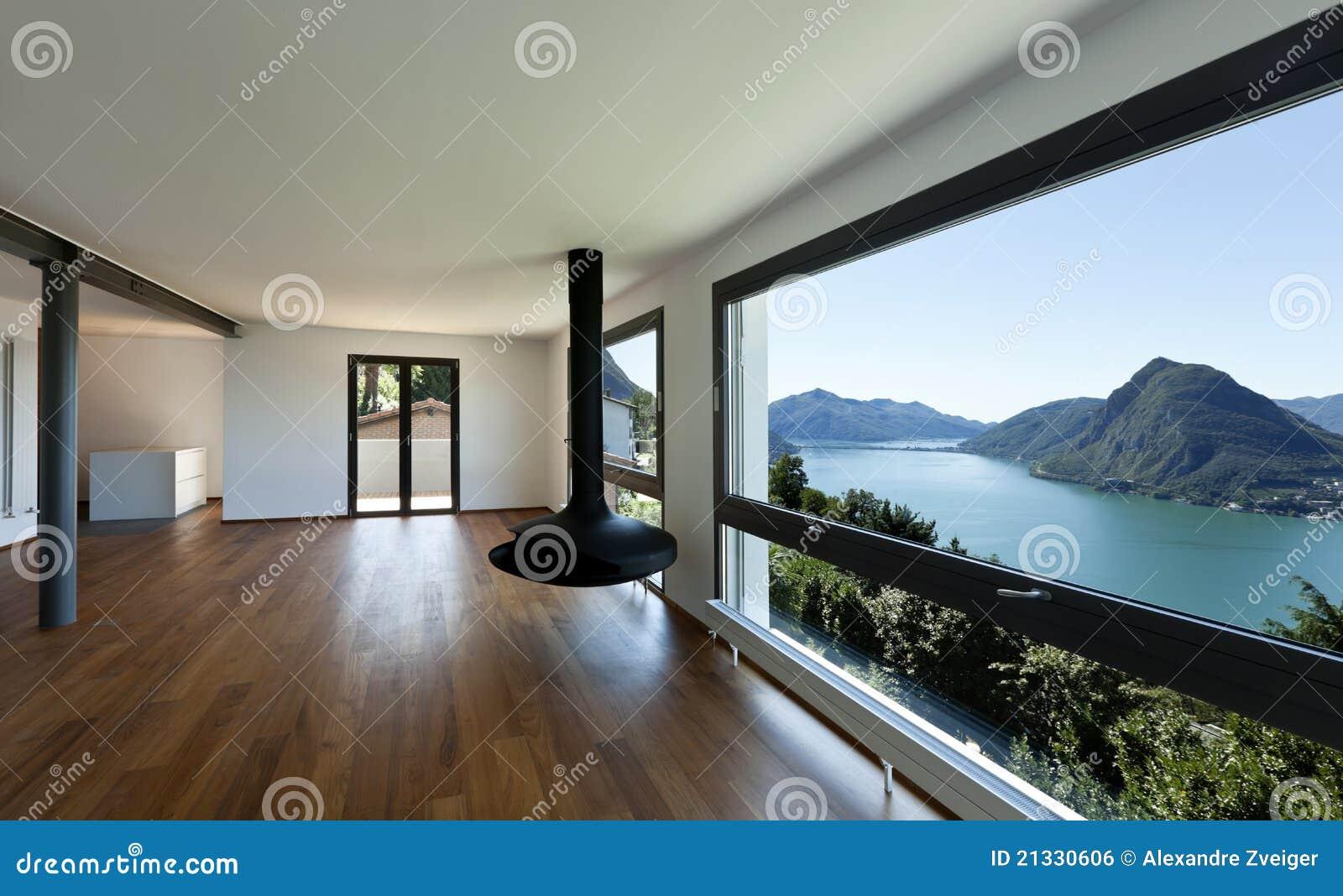 Sala De Estar Grande Con La Ventana Panor Mica Imagen De