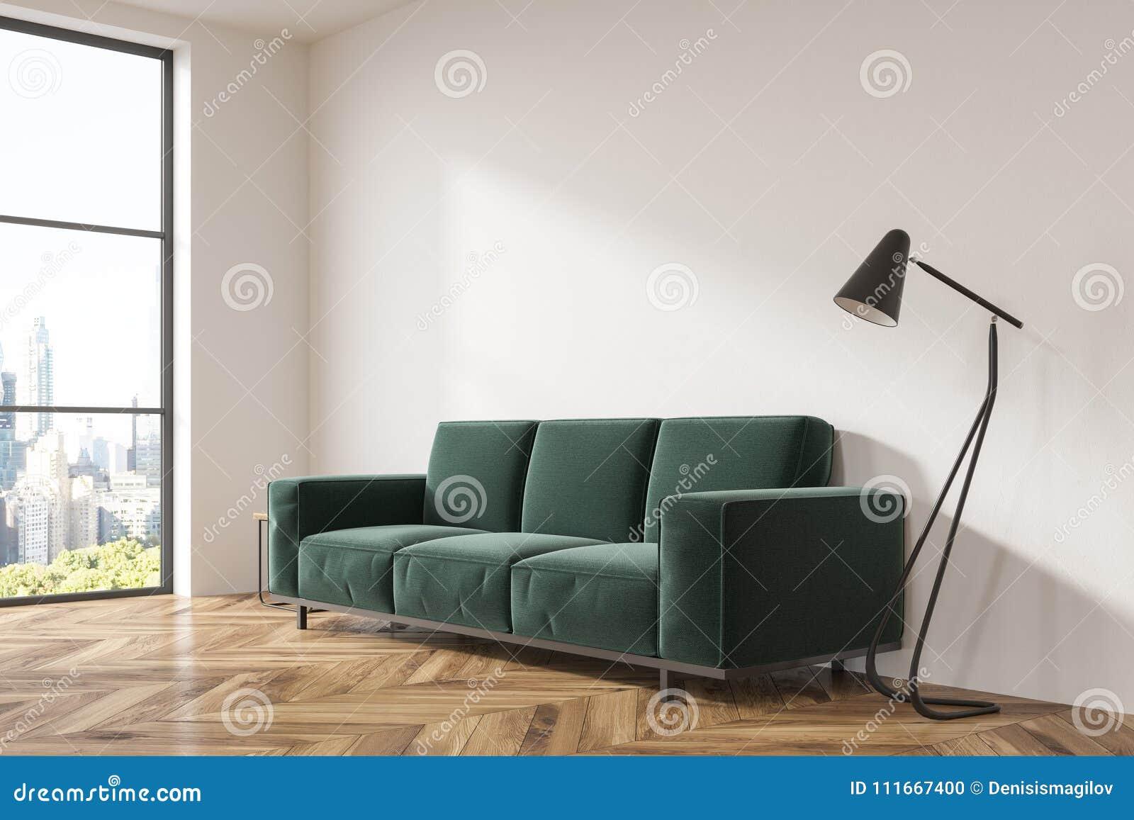 Sala De Estar Gris Vista Lateral Del Sofa Verde Oscuro Stock De