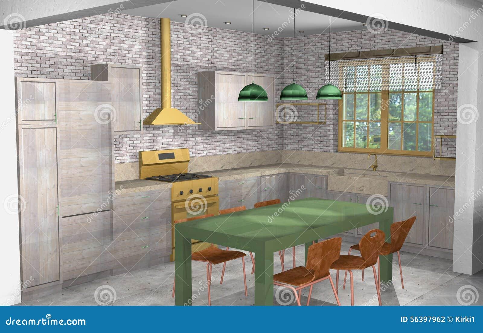 Cocina rustica con chimenea en ladrillo visto y madera for Sala de estar rustica y moderna