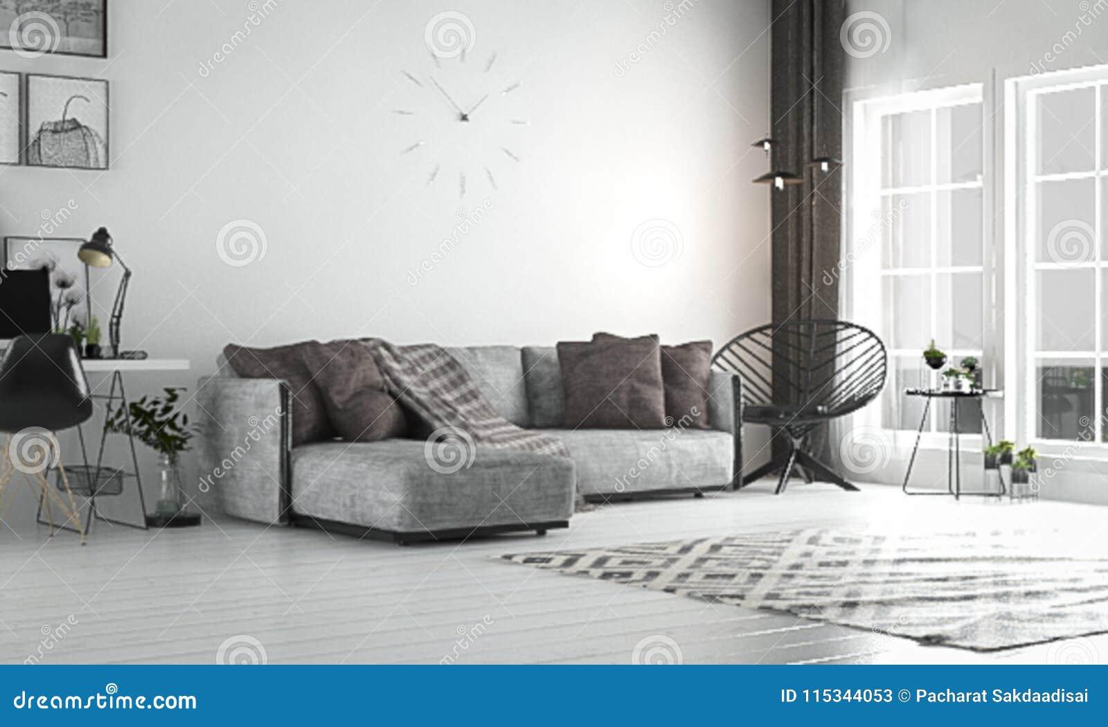 Sala De Estar Interior Estilo Escandinavo Con El Sofá Y El
