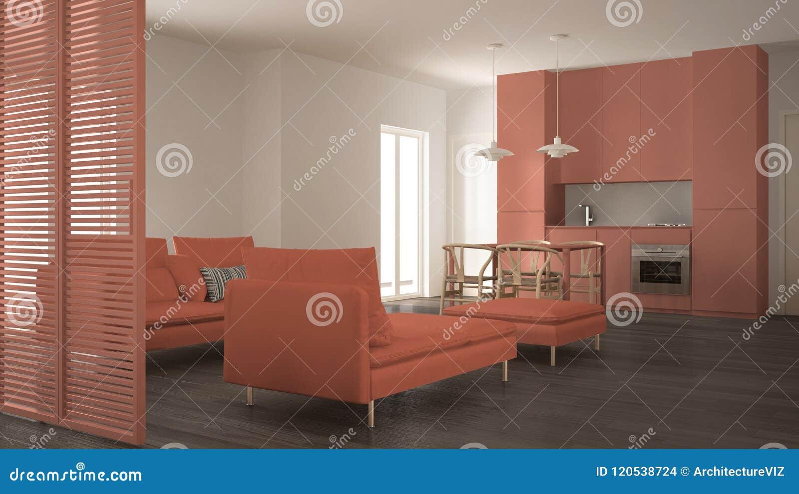 Sala De Estar Limpia Moderna Con La Cocina Y Mesa De Comedor ...