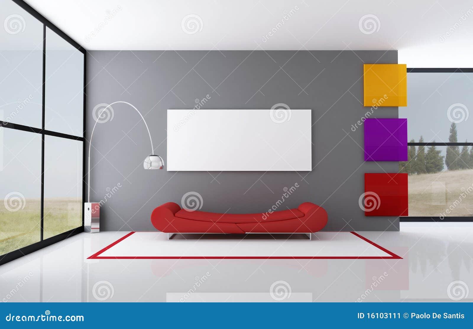 Sala de estar minimalista coloreada imagen de archivo for Sala de estar minimalista