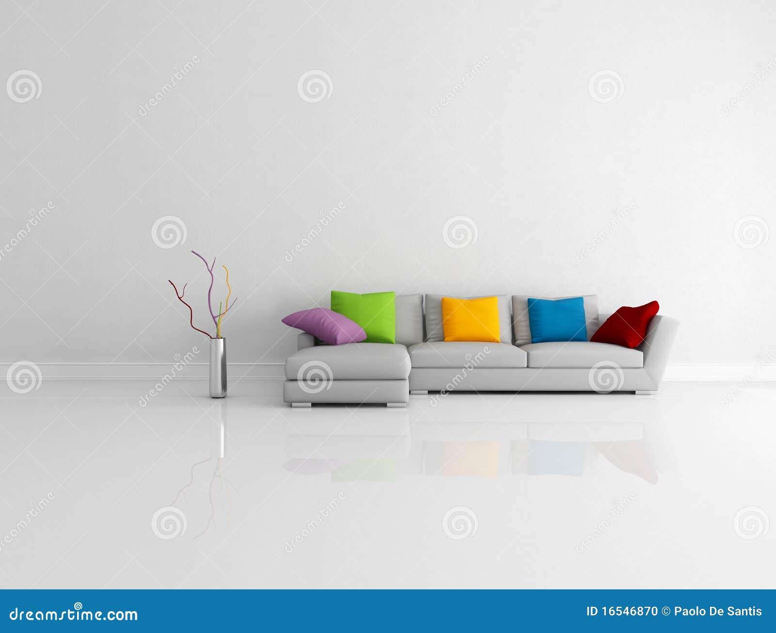 Sala de estar minimalista coloreada brillante