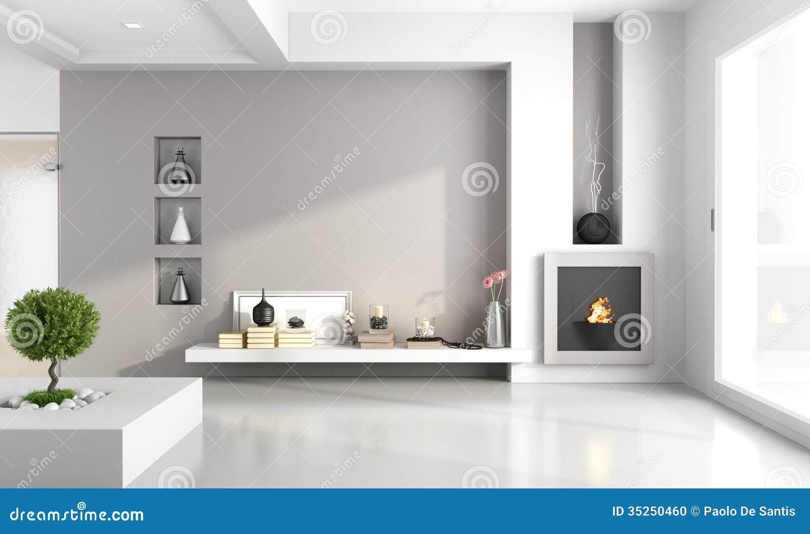Sala de estar minimalista con la chimenea foto de archivo for Sala de estar minimalista