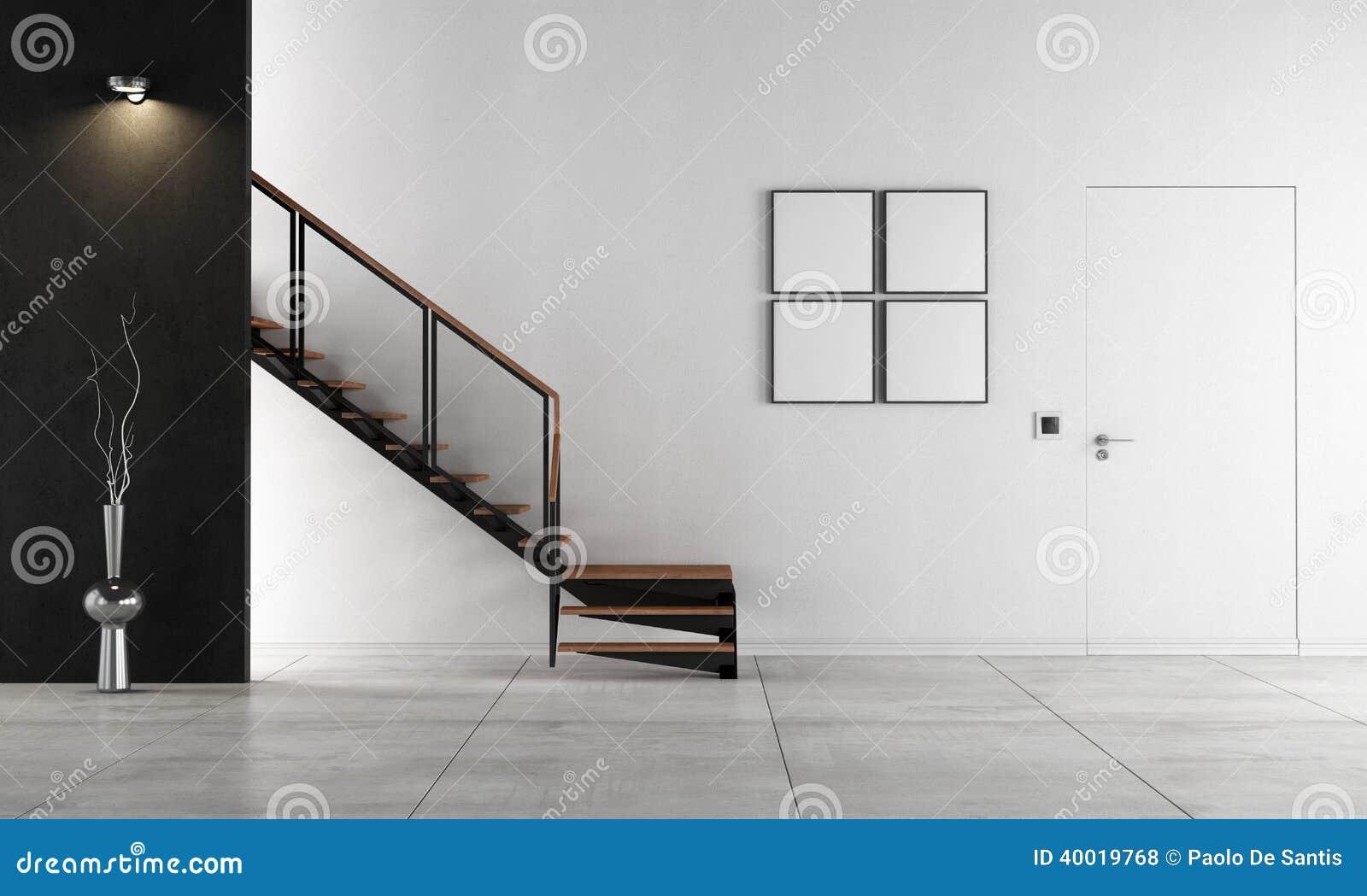 sala de estar minimalista con la escalera stock de ilustracin