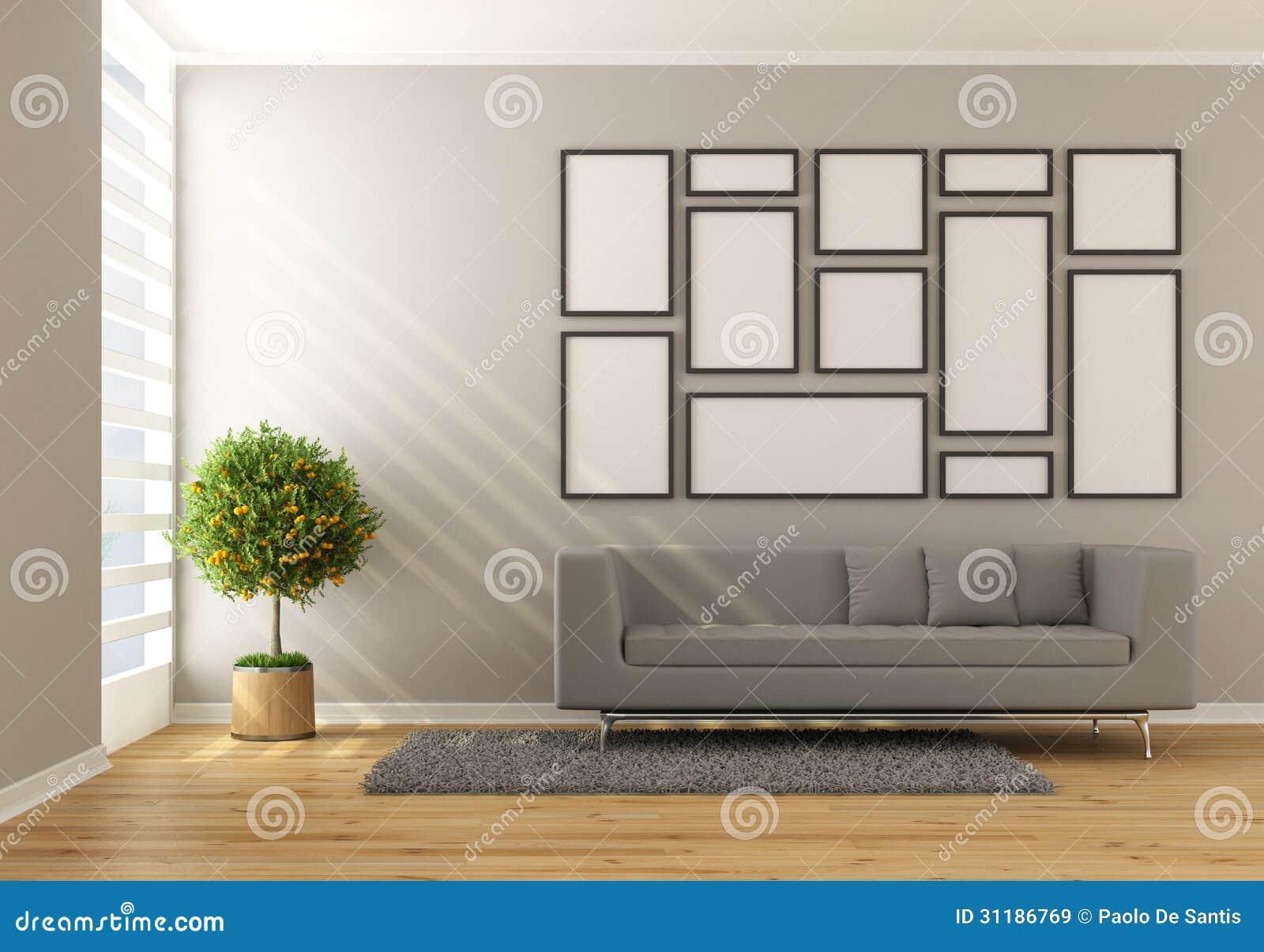 Sala Tv Minimalista ~ Sala de estar minimalista contemporánea con el marco del sofá y del