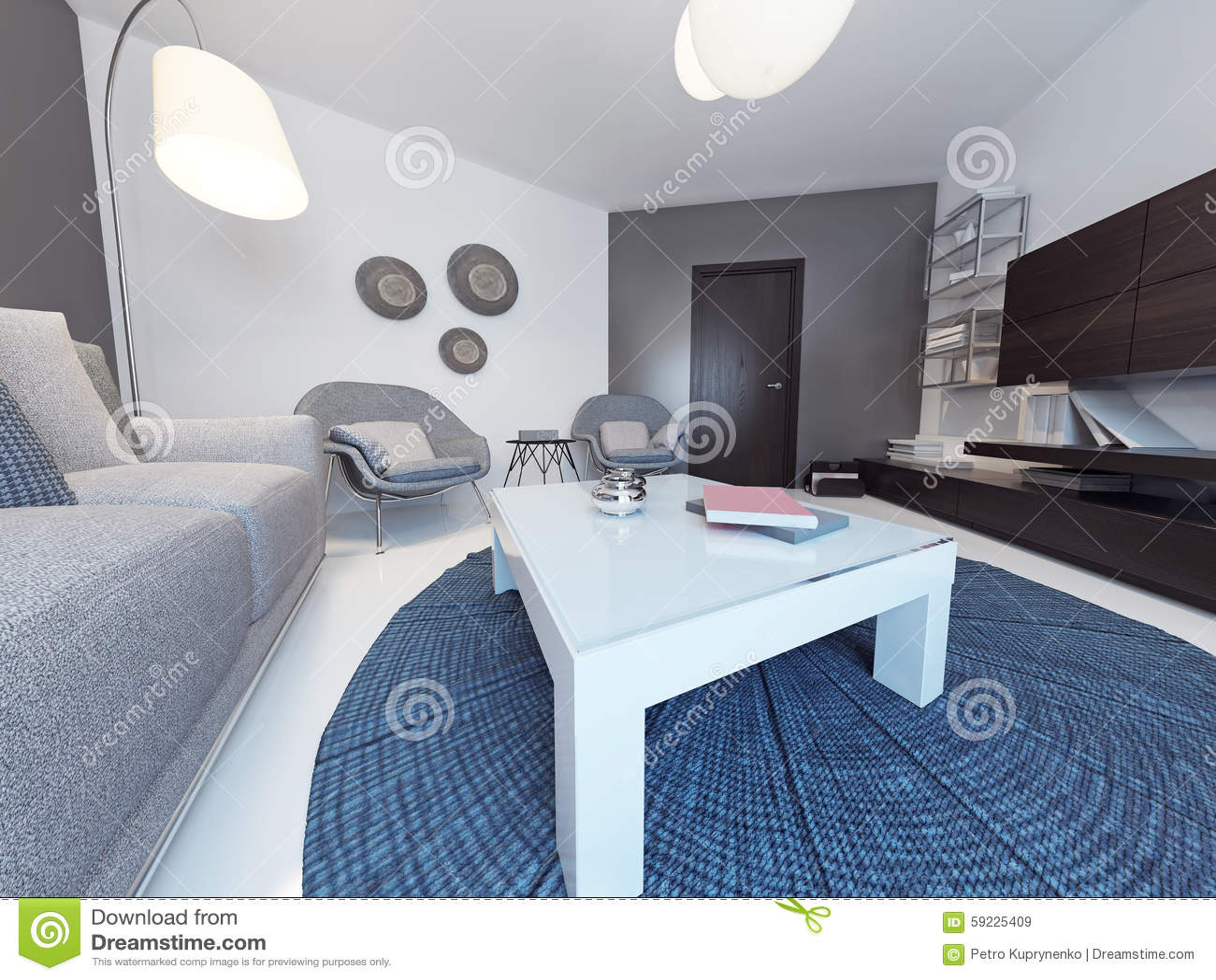 Download Sala De Estar Minimalista En Hogar De Lujo Stock de ilustración - Ilustración de living, concreto: 59225409