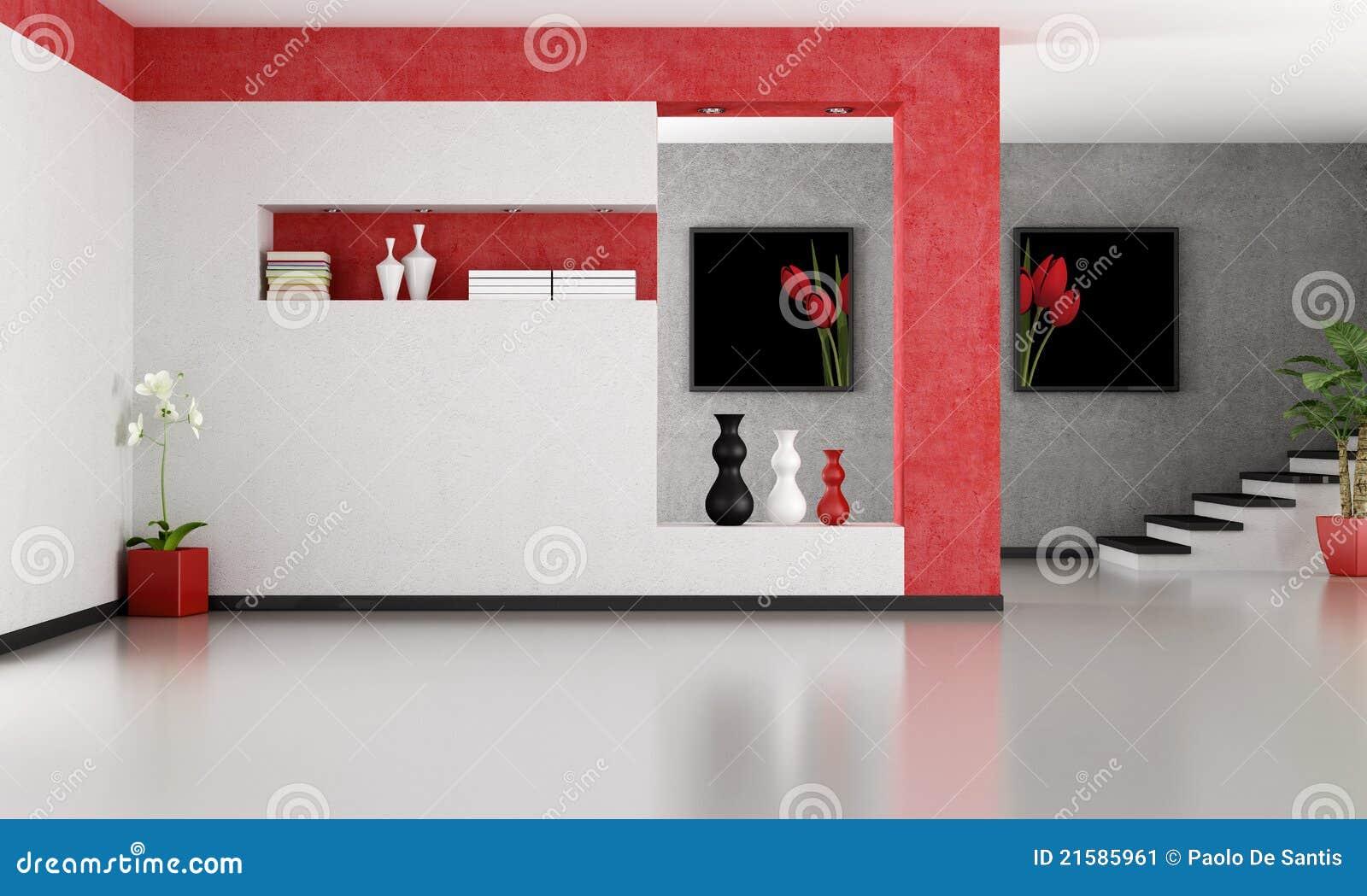 Sala Tv Minimalista ~ La sala de estar minimalista vacía con la escalera que rinde los