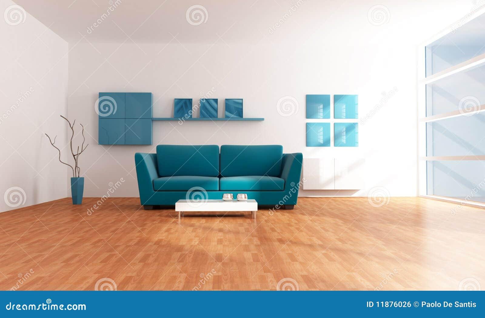 Sala De Estar Moderna Azul Brilhante Imagem de Stock Royalty Free  ~ Sala De Estar Azul