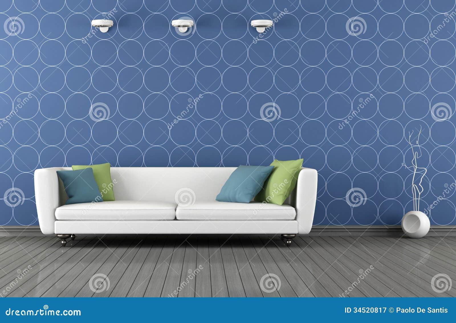 Sala De Estar Azul ~ Sala De Estar Moderna Azul E Branca Fotografia de Stock Royalty Free