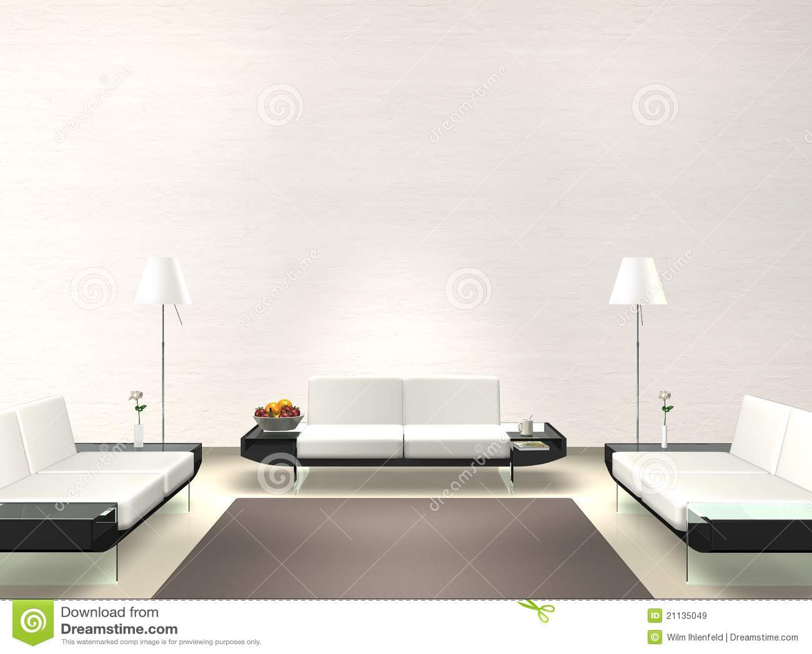 Sala De Estar Moderna Com Parede Branca Ilustra O Stock  -> Sala Branca Com Parede Colorida