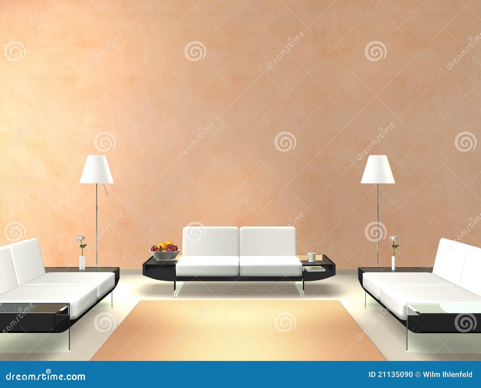 Sala De Estar Moderna Com Parede Salm O Colorida Ilustra O Stock  -> Sala Branca Com Parede Colorida