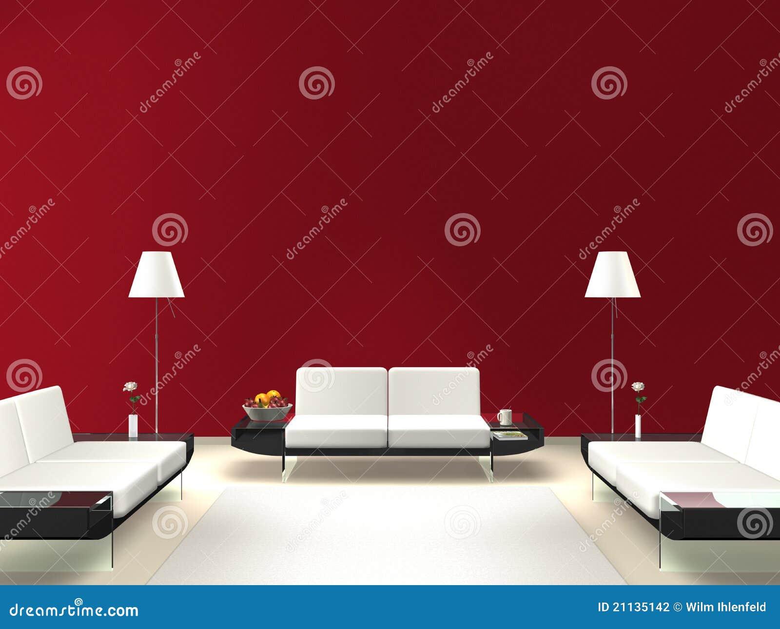 #760E19 Sala De Estar Moderna Com Parede Vermelha Fotografia de Stock Imagem  1300x1065 píxeis em Decoração De Sala De Estar Vermelho E Branco