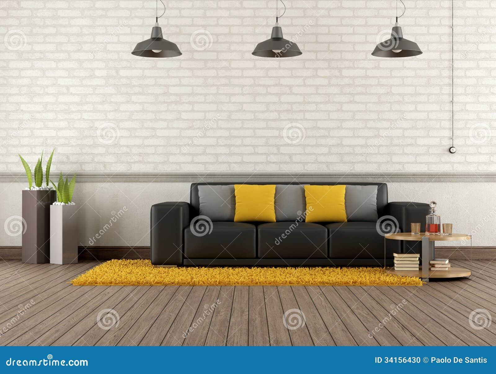 Sala De Estar Moderna Sofá Marrom Foto de Stock Imagem