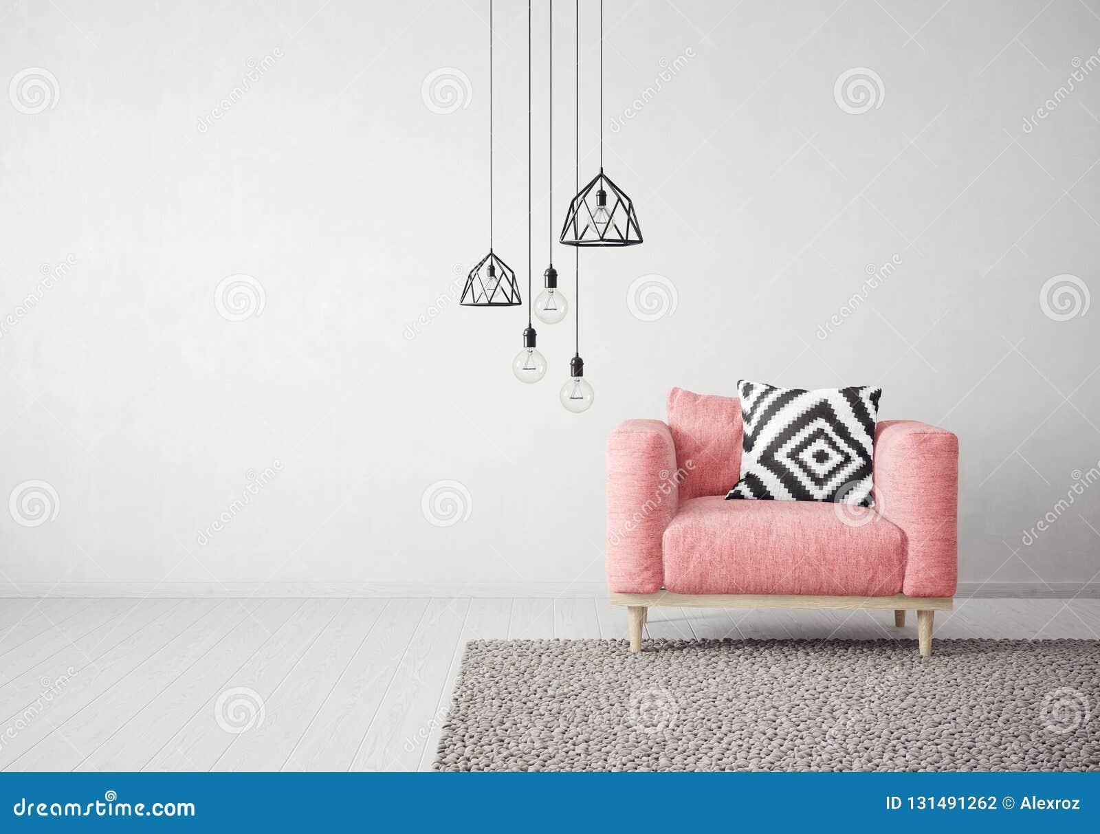 Sala de estar moderna con la butaca y la lámpara rojas muebles escandinavos del diseño interior