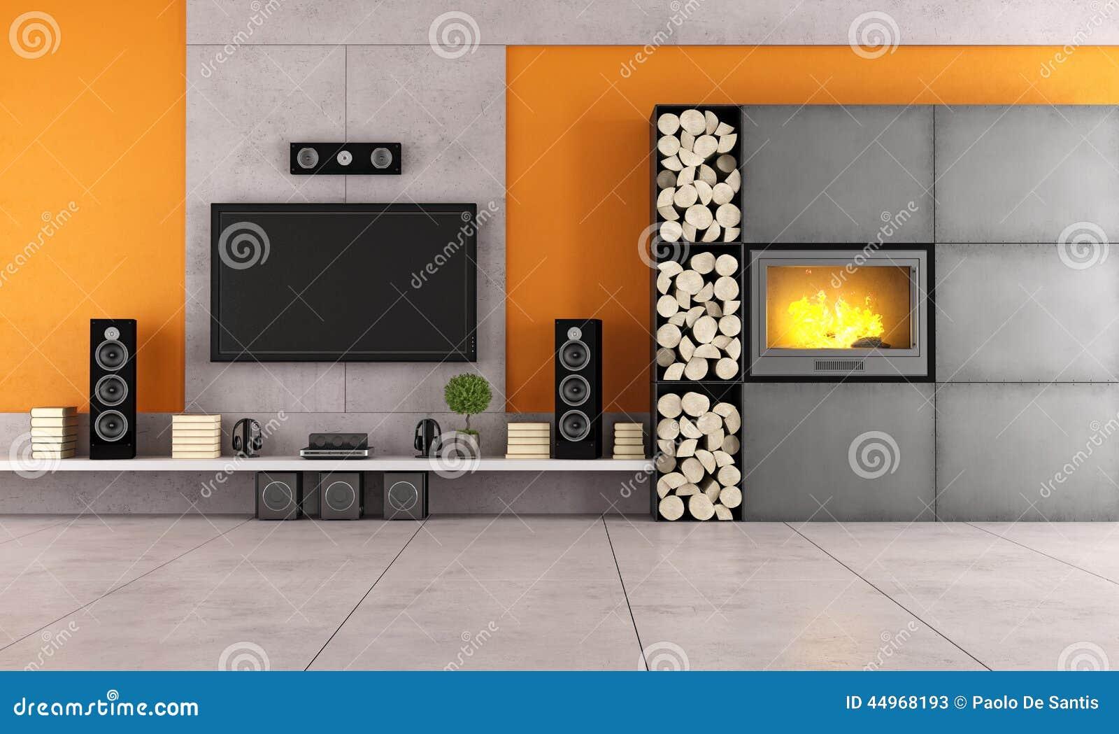 Sala de estar moderna con la tv y la chimenea stock de for Sala de estar con tv
