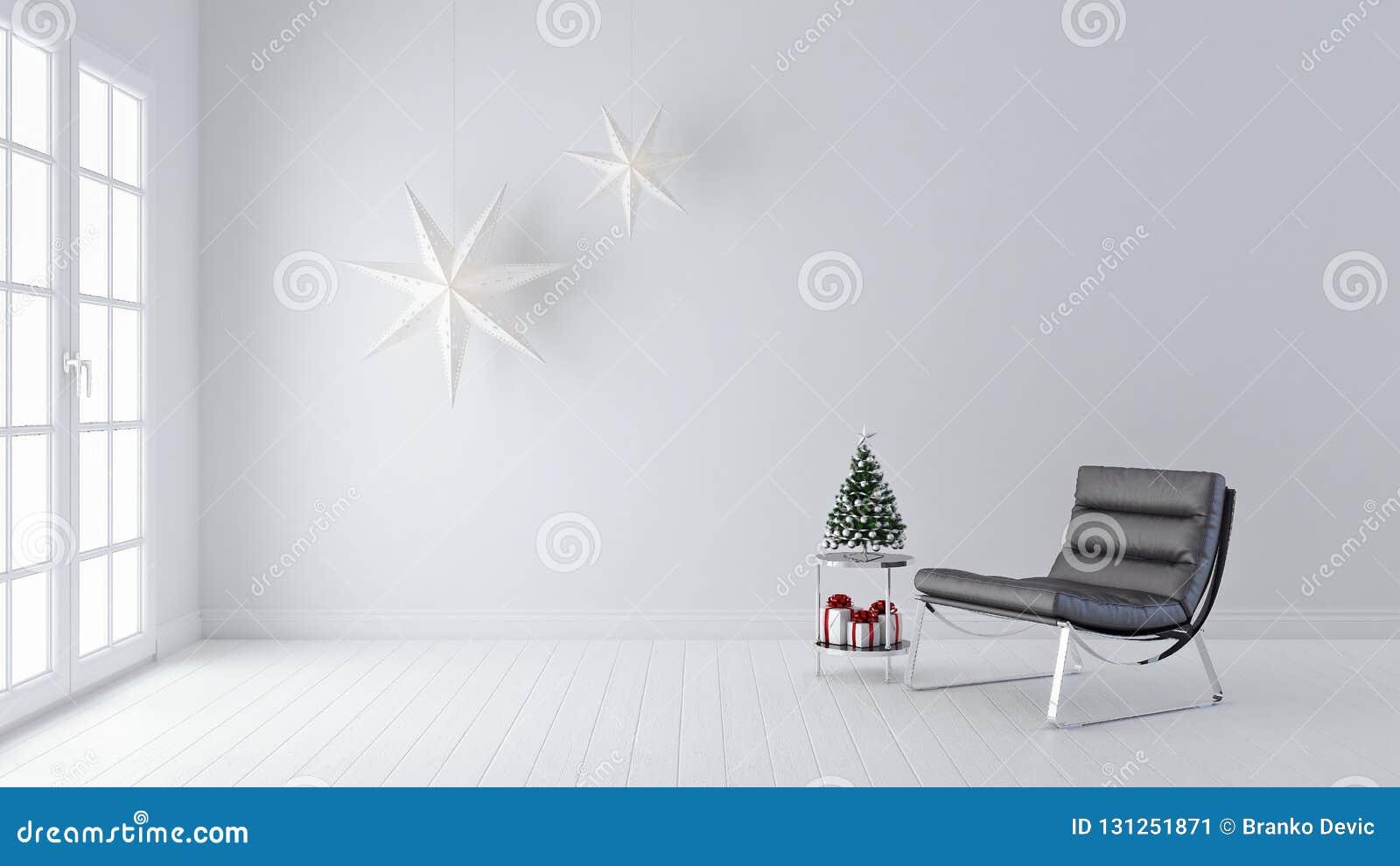 Sala de estar moderna, diseño interior, decoración de la Navidad, Año Nuevo, 3d rendir