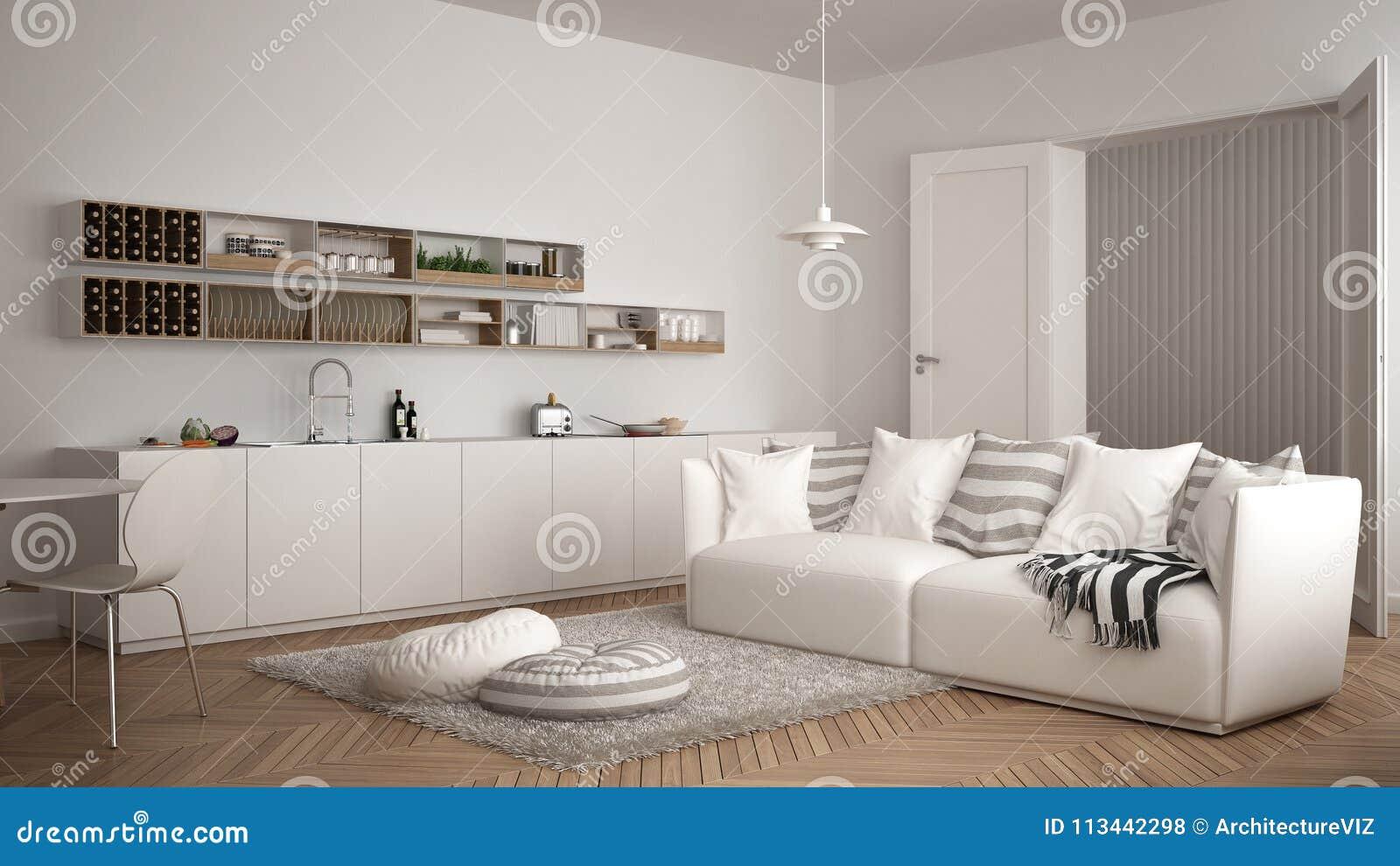 Sala de estar moderna escandinava con la cocina la mesa for Mesa de comedor en la sala de estar