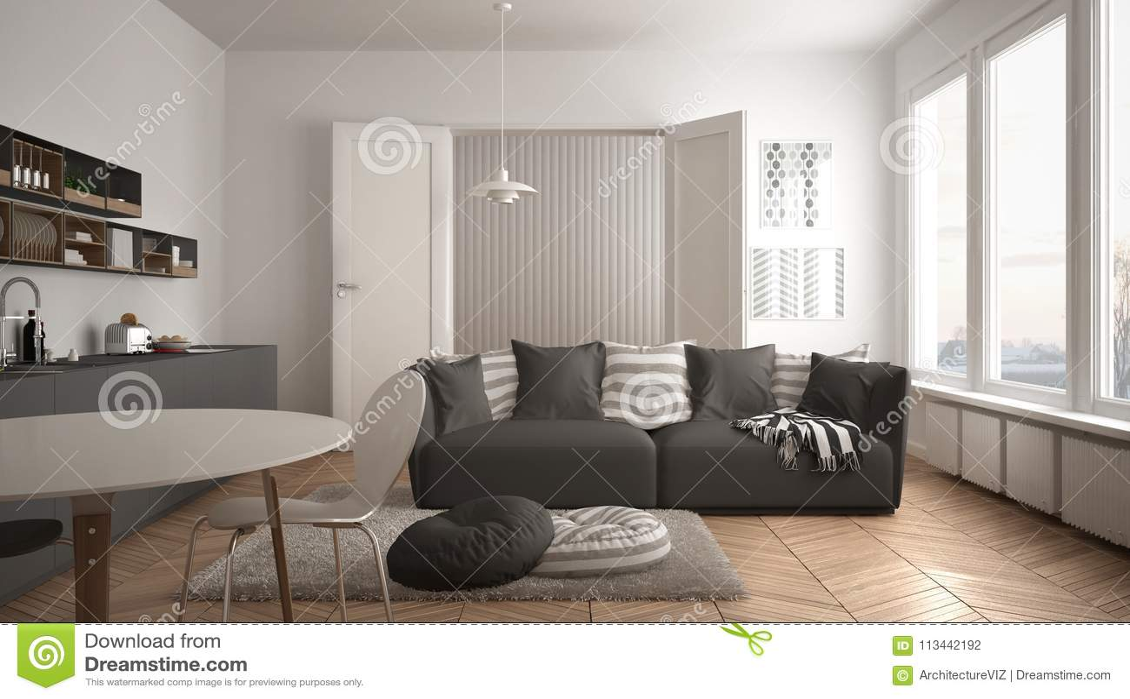 Sala de estar moderna escandinava con la cocina mesa de for Comedor y sala de estar decorados