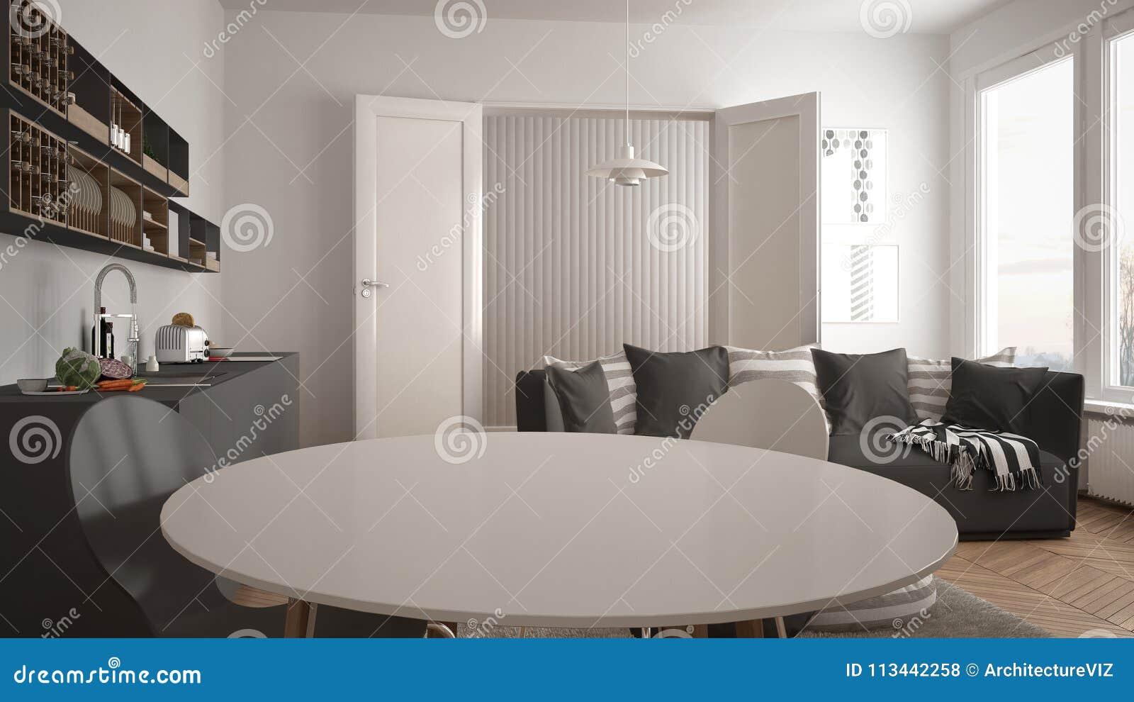 Sala De Estar Moderna Escandinava Con La Cocina, Mesa De Comedor ...
