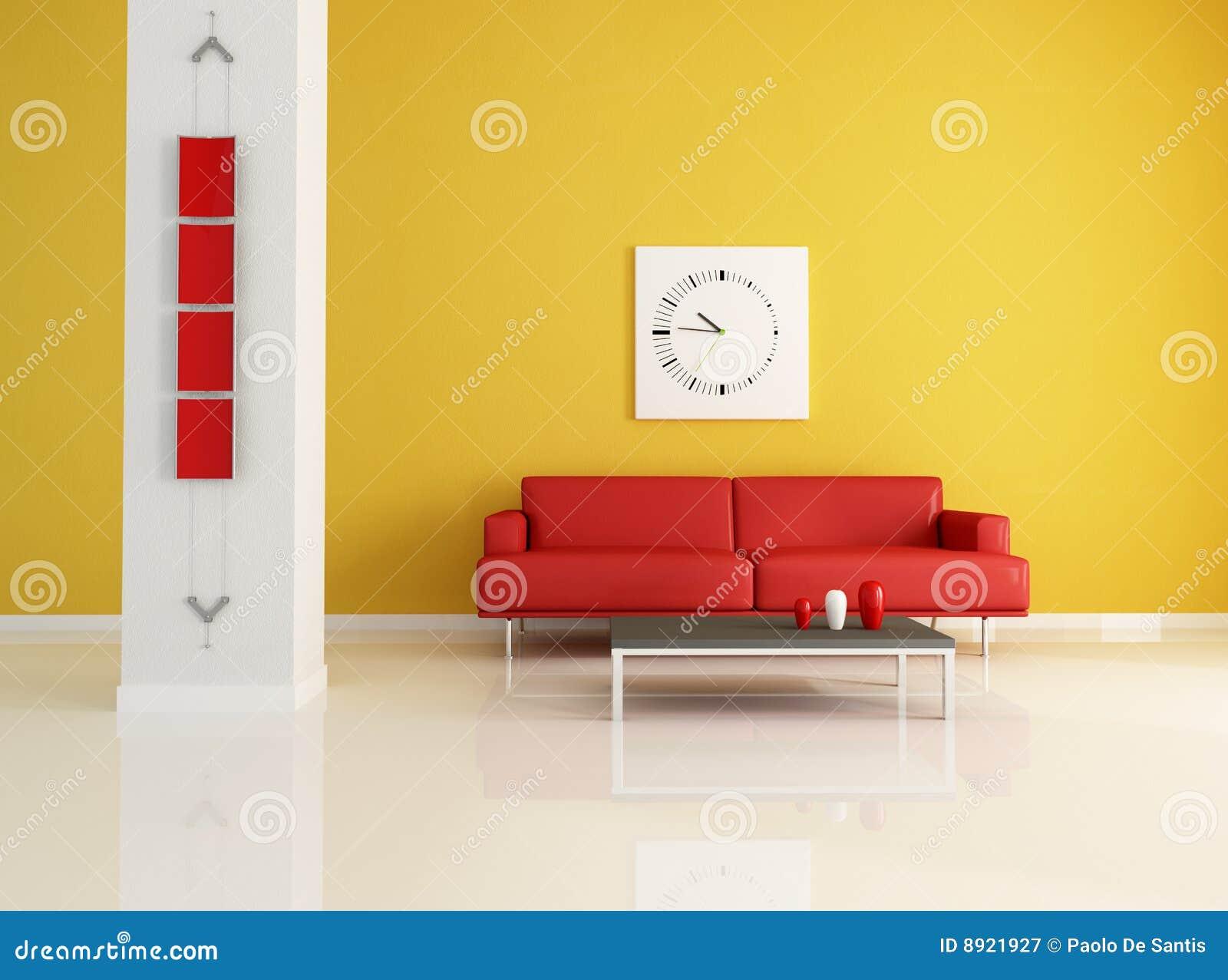 Sala de estar moderna roja y anaranjada fotograf a de for Sala de estar blanca