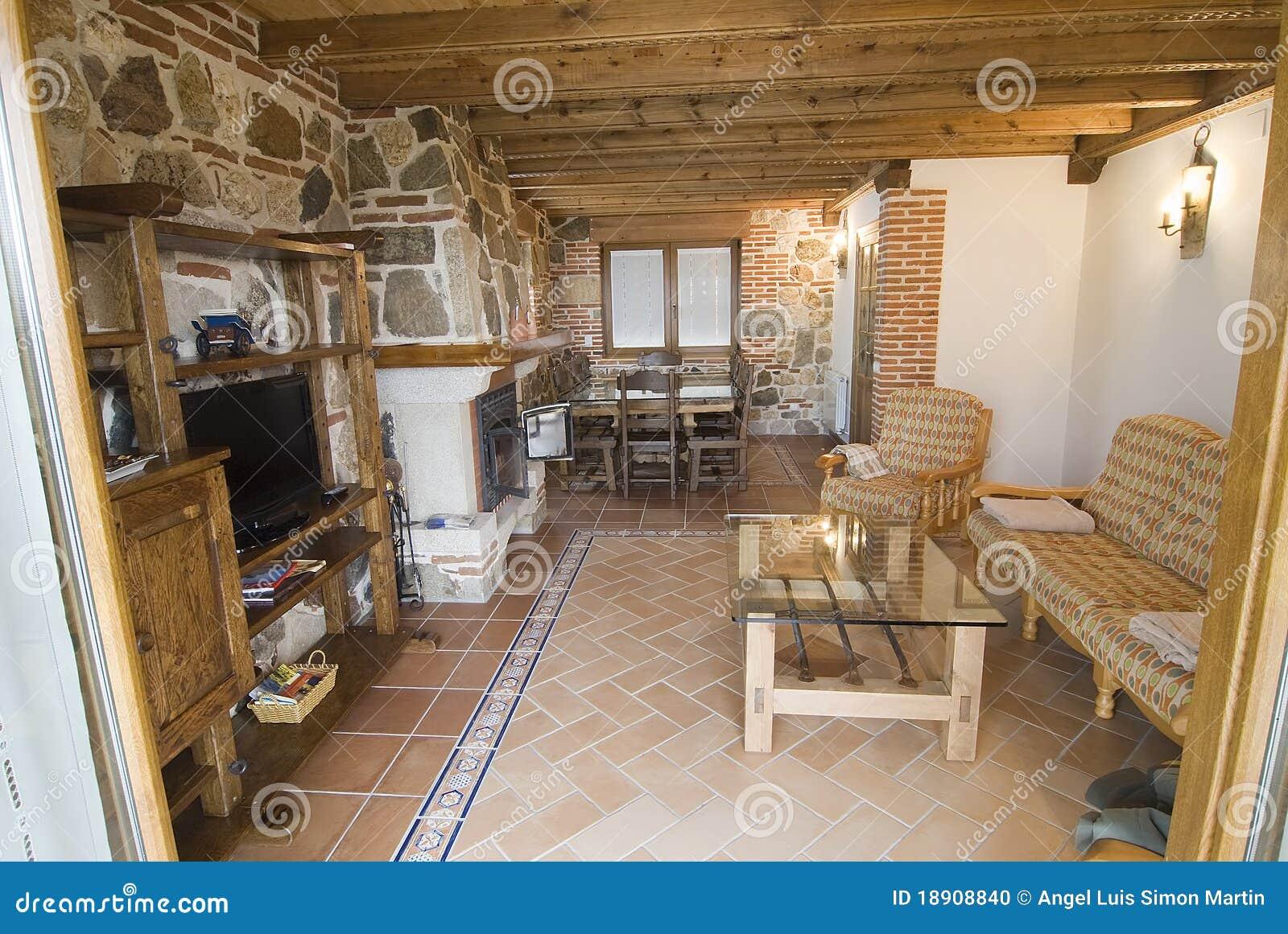 Sala de estar r stica foto de archivo imagen 18908840 for Sala de estar rustica