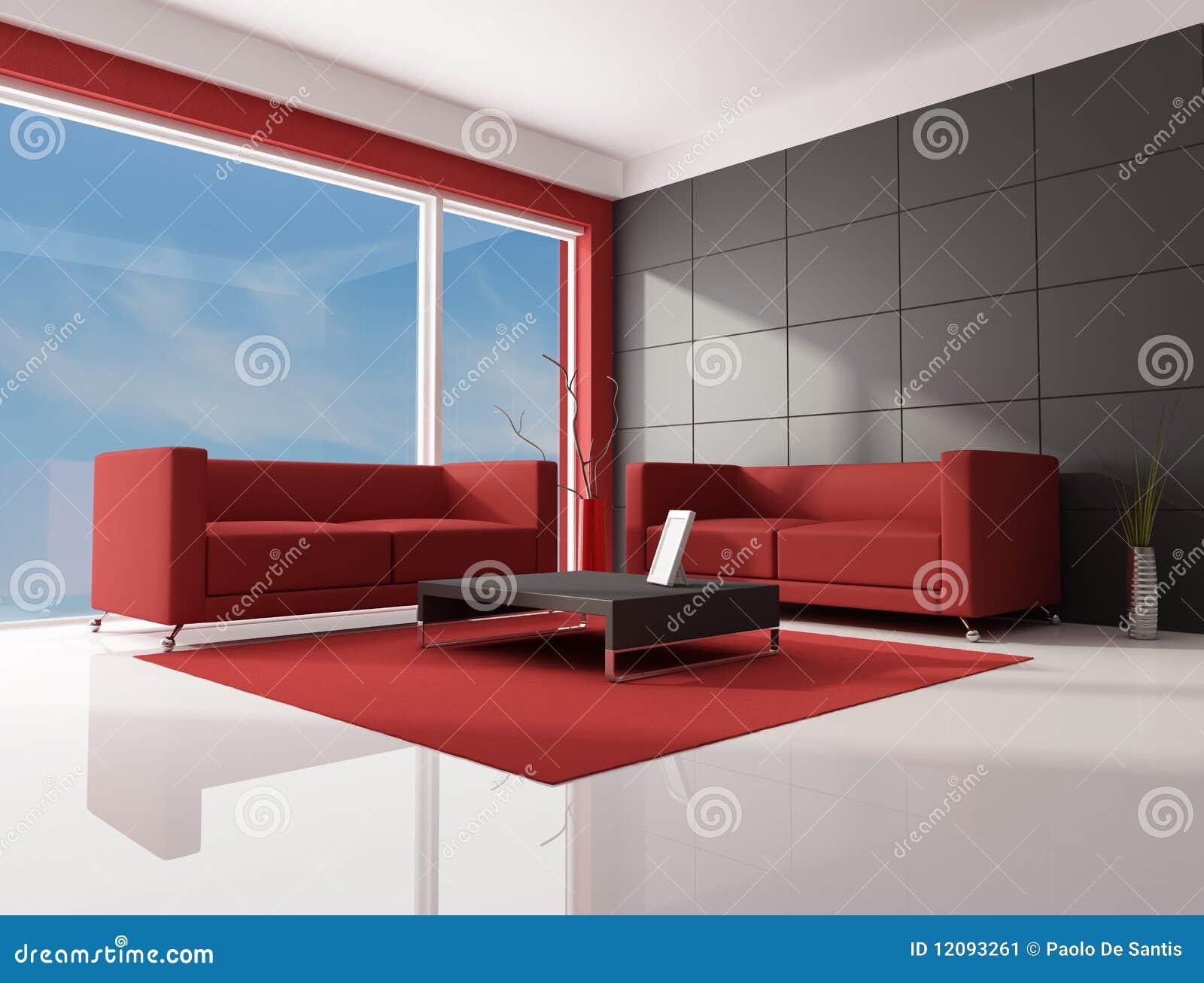 Sala de estar rojo marr n y blanca imagen de archivo for Sala de estar marron