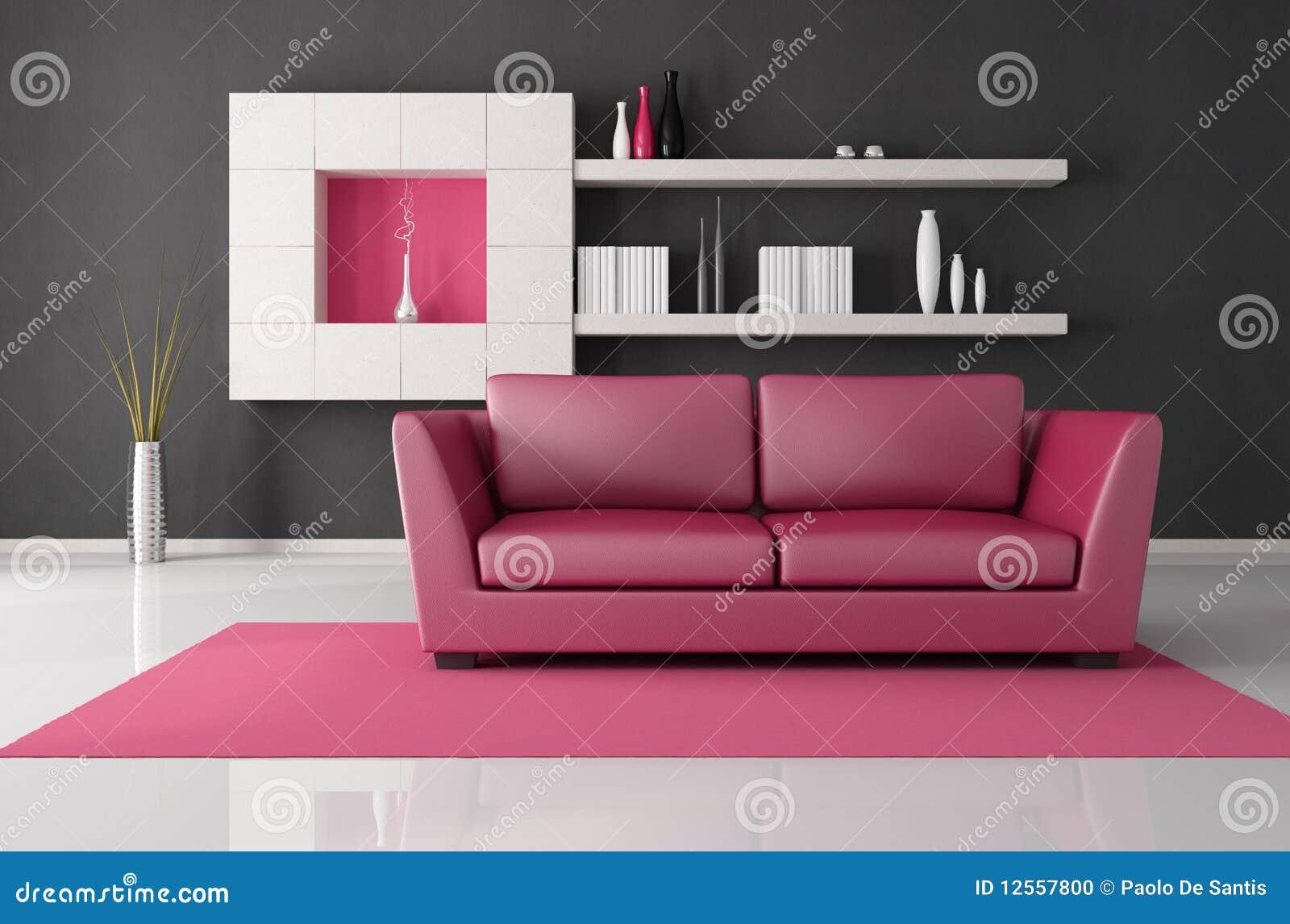 sala de estar rosada y negra stock de ilustraci n