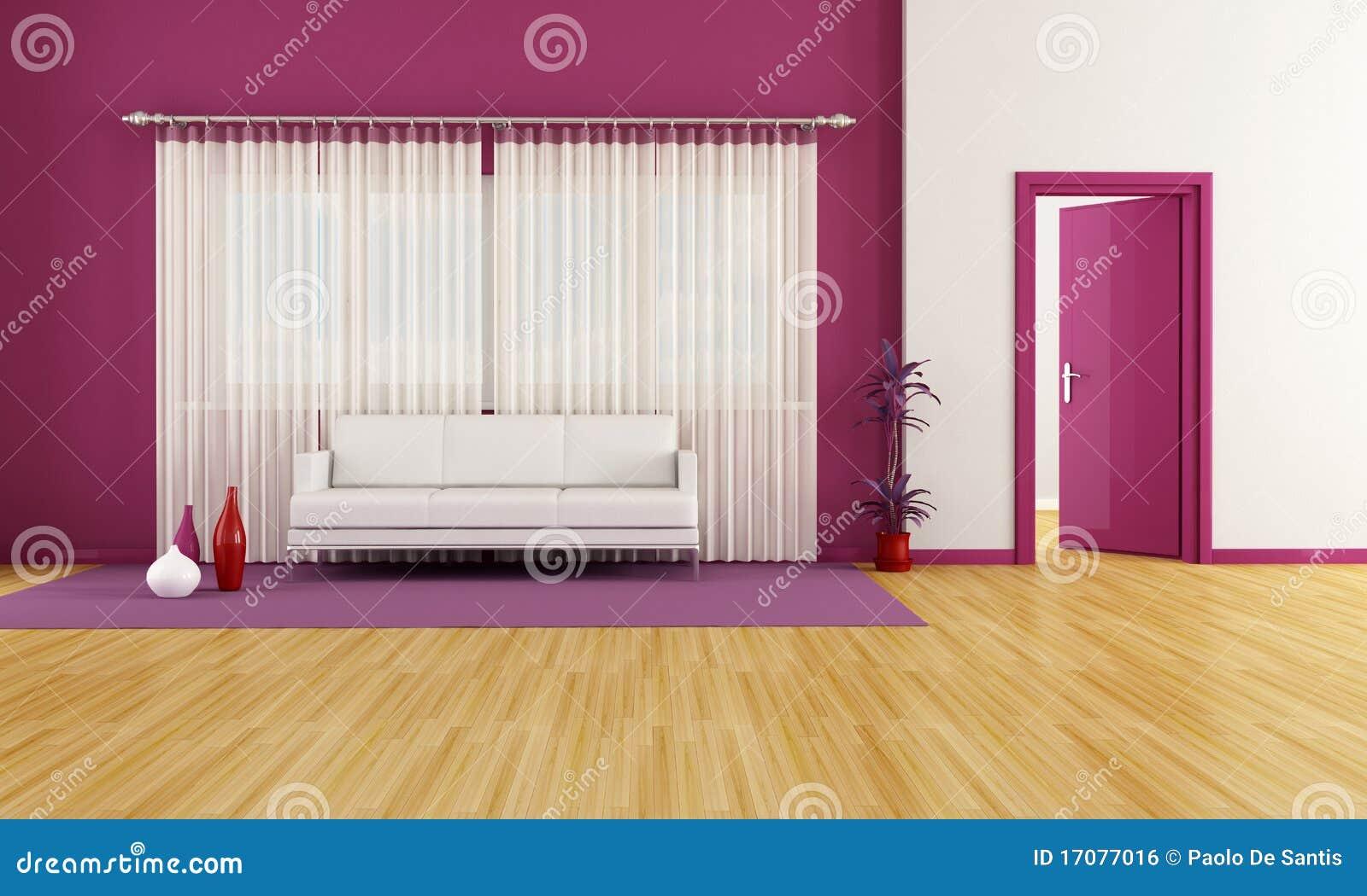Sala De Estar Branca E Roxa