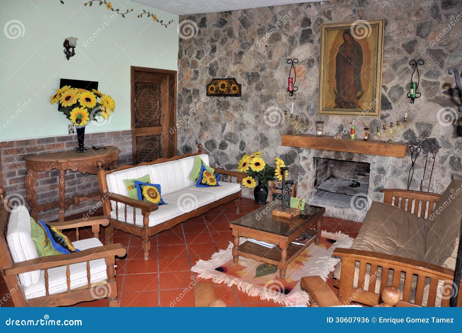 Sala de estar r stica imagen de archivo libre de regal as for Sala de estar rustica