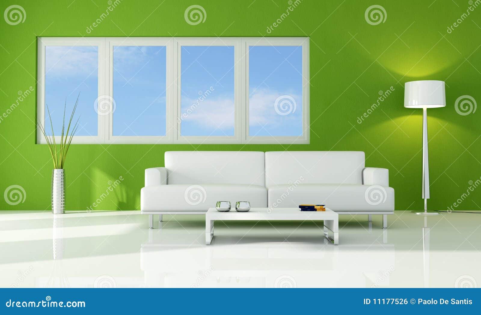 Sala De Estar Verde ~ Sofá branco de encontro aos indicadores em uma sala de estar verde
