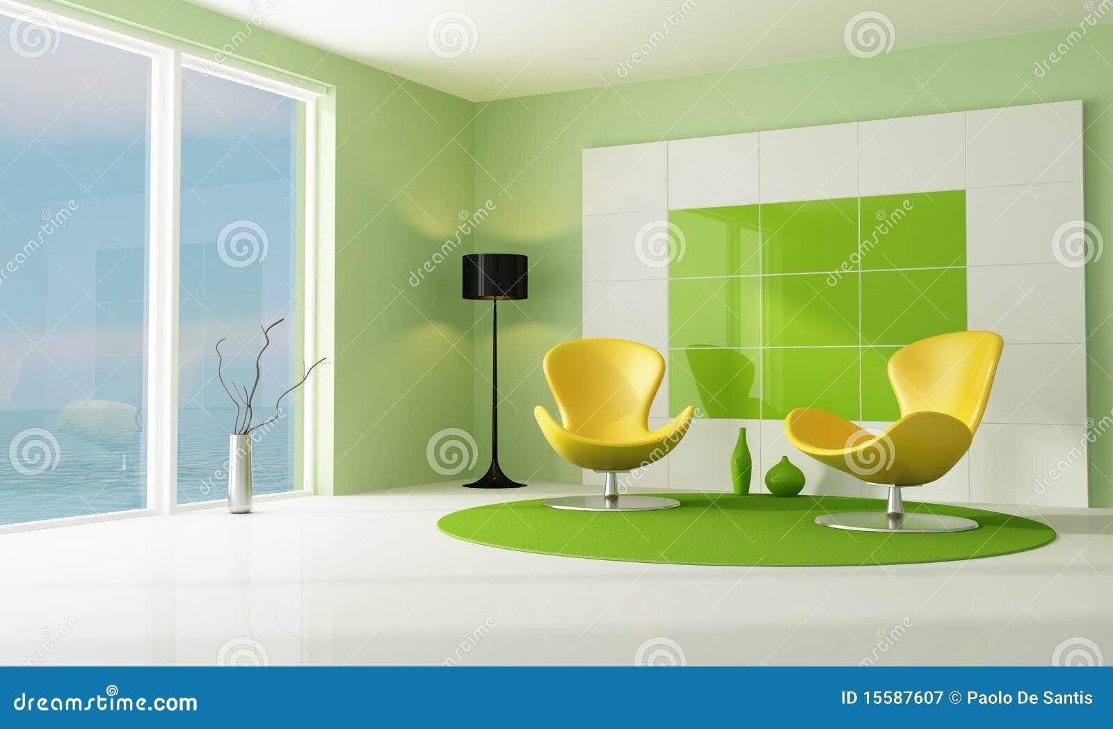 Sala De Estar Com Verde ~ Sala De Estar Verde E Branca Contemporânea Fotografia de Stock