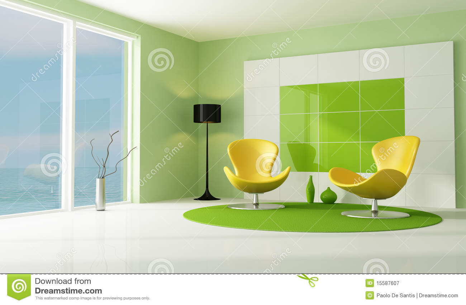 Sala De Estar Verde ~ Sala De Estar Verde E Branca Contemporânea Fotografia de Stock
