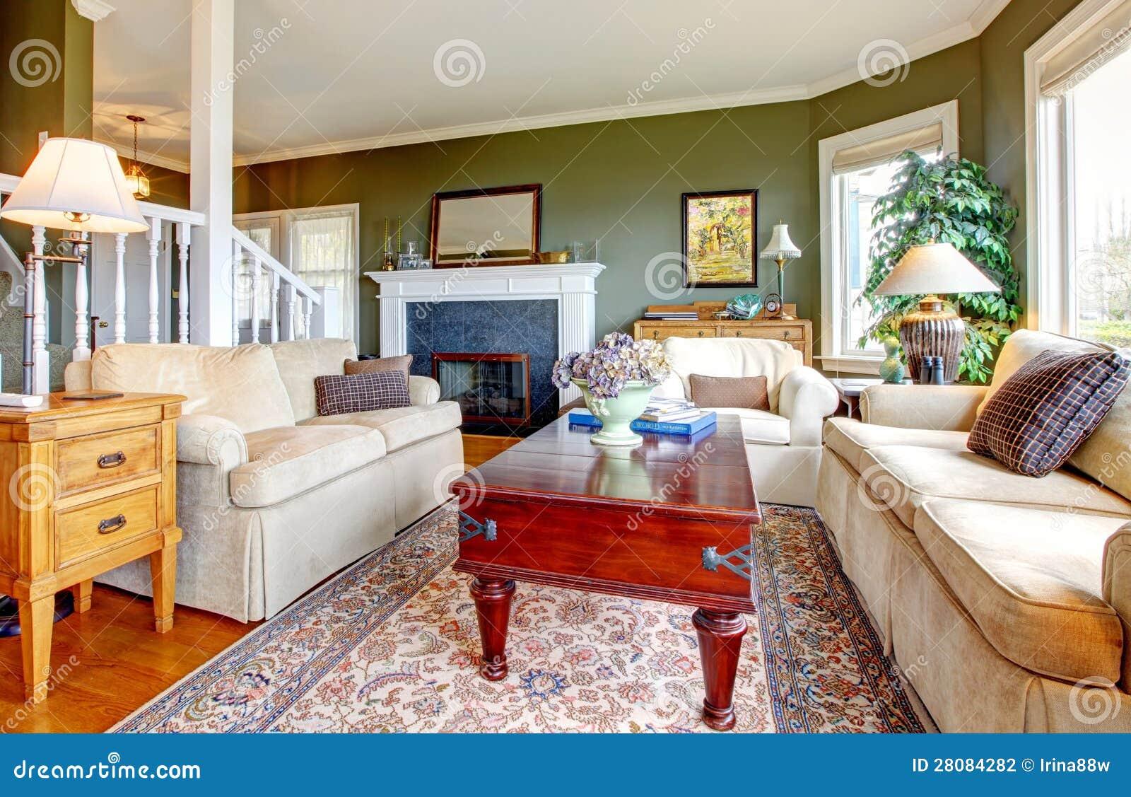 Sala De Estar Com Verde ~ Sala De Estar Verde Elegante Clásica Fotografía de archivo  Imagen